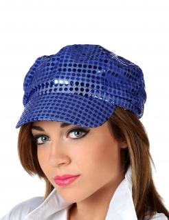 Disco Pailletten Kappe für Damen blau
