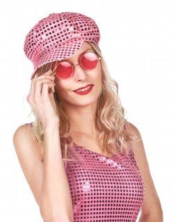 Disco Pailletten Kappe für Damen pink