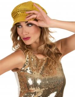 Discokappe Pailletten-Mütze gold