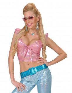 Disco Glitzer Gürtel für Damen blau
