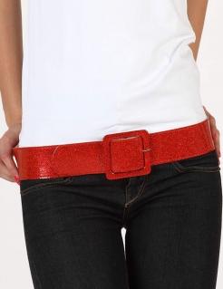 Disco Glitzer Gürtel für Damen rot