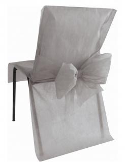 Stuhlhusse premium Partydeko Hochzeit 10 Stück grau 50x95 cm
