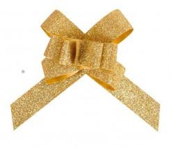 Deko-Schleife mit Glitzer 10 Stück gold 14cm