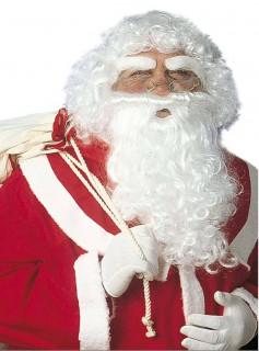 Weihnachtsmann-Accessoire-Set Bart Augenbrauen und Perücke Santa-Claus-Set weiss