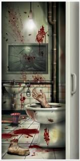 Blutiges Badezimmer Tür-Poster Halloween Party-Deko bunt 76x152cm