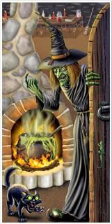 Hexenhaus Tür-Poster Halloween Party-Deko bunt 76x152cm