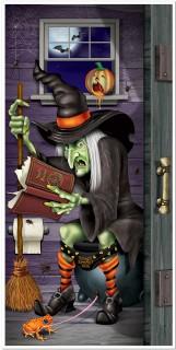 Fiese Hexe WC Tür-Poster Halloween Party-Deko bunt 76x152cm