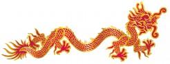 Wanddeko Chinesischer Drache Neujahr rot-gold 92cm