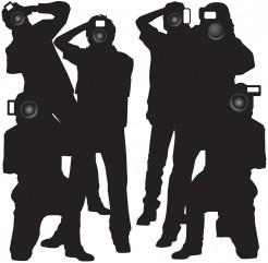 Fotografen Paparazzi Wanddeko 2-teilig schwarz 1,7m