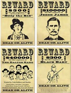 Wanted Plakat Wanddeko 4-teilig gelb-schwarz 39x29cm
