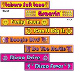 Party Deko Disco Schilder 4-teilig bunt 60x10cm