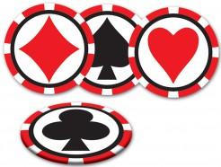 Party Untersetzer Casino 8-teilig schwarz-rot-weiss 8,9cm