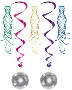 Disco Hängedeko Spiralen 5-teilig bunt