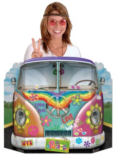 Party Deko Pappaufsteller Hippie Bus bunt 94x64cm