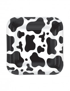 Party Pappteller klein quadratisch Kuhflecken 8 Stück schwarz-weiss 18cm