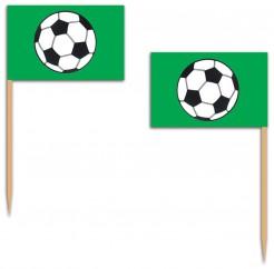 Zahnstocher Fähnchen Fussball 12 Stück grün-weiss-schwarz