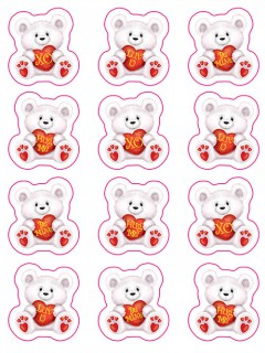 Herzbären-Stickerset Valentinstag-Aufkleber 48-teilig weiss-rot-gelb