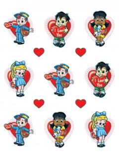 Valentinstag-Sticker Dekoration 3 Bögen bunt