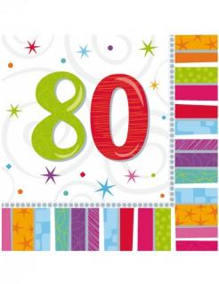 80. Geburtstag Servietten Party-Deko 16 Stück bunt 33x33cm