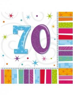 Geburtstagsparty-Servietten Zahl 70 Jubiläums-Servietten 16 Stück bunt 33x33cm
