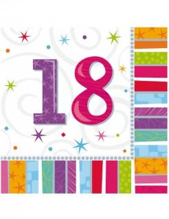 Servietten 18. Geburtstag Streifen-Muster 16 Stück bunt 33x33cm