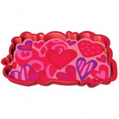 Herztablett Valentinstag-Tischdeko rot-pink