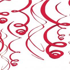 Hängespiralen Partydeko 12 Stück rot 55,8cm