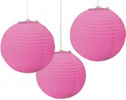 Lampions Papierlaternen 3 Stück rosa 24cm