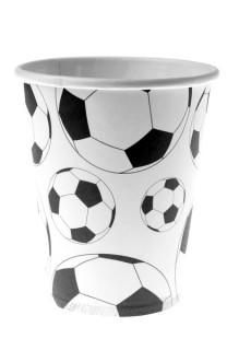 Fussball-Pappbecher 10 Stück schwarz-weiss 200ml