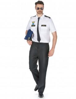 Flugzeugpilot Herren-Kostüm schwarz-weiss