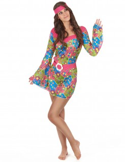 Hippie-Damenkostüm Flower-Power-Kleid bunt