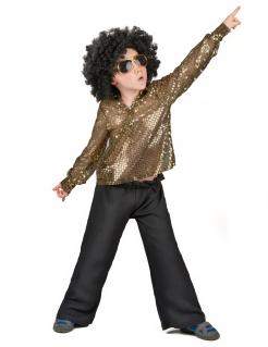 Disco-Outfit Pailletten-Kinderkostüm gold-schwarz