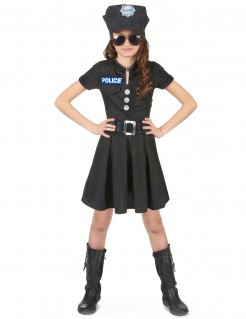 Kleine Polizistin Kinderkostüm Politesse schwarz-silber