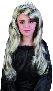 Lange Prinzessinnen-Mädchenperücke gewellt silber