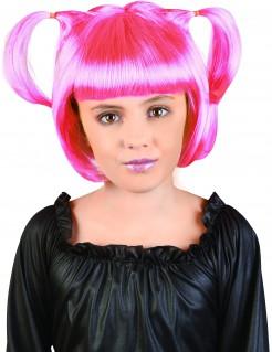 Manga-Perücke mit Zöpfen für Kinder pink