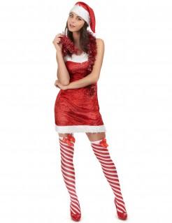 Heißes Weihnachtsfrau Damenkostüm rot-weiss