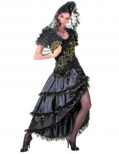 Flamenco-Tänzerin Damenkostüm schwarz-gold