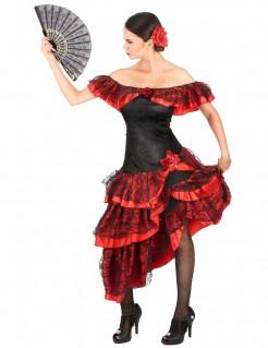 Flamenco-Tänzerin Damen-Kostüm rot-schwarz