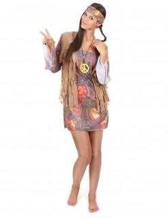 60er Jahre Hippie Flower Power Damenkostüm bunt