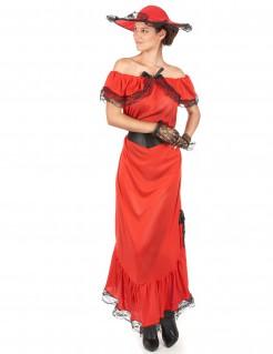 Edles Scarlett Damenkostüm rot-schwarz