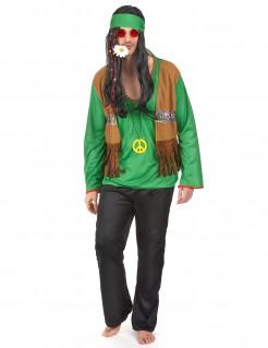 Hippie Herren-Kostüm grün-braun