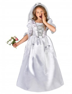 Süße Braut Kinderkostüm weiss