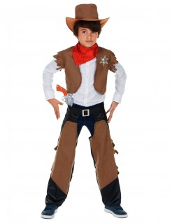 Cowboy Kinder-Kostüm braun-schwarz