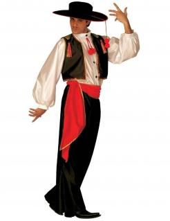 Flamenco Tänzer Herrenkostüm schwarz-rot-weiss
