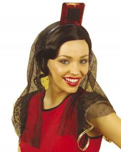 Spanische Tänzerin Schleier schwarz-rot