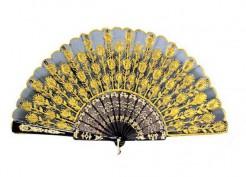 Spanischer Flamenco Fächer mit floralem Motiv gelb-schwarz
