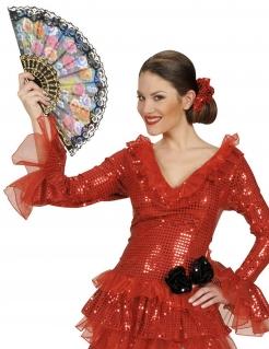 Spanischer Fächer mit Spitze Kostümzubehör schwarz-bunt 23cm