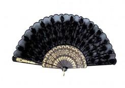 Edler Fächer mit Verzierungen schwarz-gold 43x22cm