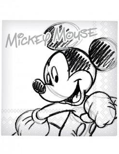 Mickey Mouse Servietten Disney-Tischdeko 20 Stück weiss-grau-schwarz 33x33cm