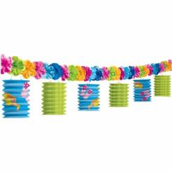 Sommergirlande mit Laternen Flip Flop Motiv und Blüten bunt 3,65m